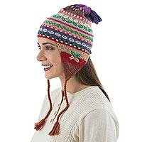100% alpaca chullo hat, 'Fiesta in Puno' - Multi Color Hand Knit 100% Alpaca Peruvian Chullo Hat