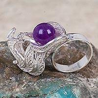 Amethyst and sterling silver filigree ring, 'Fruta Prohibida' - Handmade Amethyst and Sterling Silver Filigree Ring