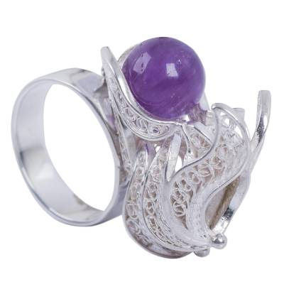 Handmade Amethyst and Sterling Silver Filigree Ring