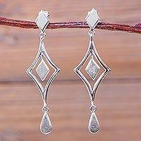Sterling silver chandelier earrings, 'Diamond Reflections' - Handcrafted Andean Sterling Silver Diamond Shape Earrings
