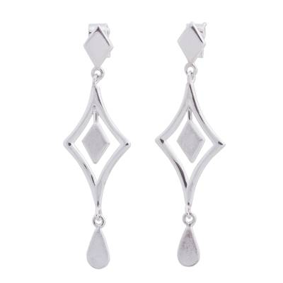 Handcrafted Andean Sterling Silver Diamond Shape Earrings