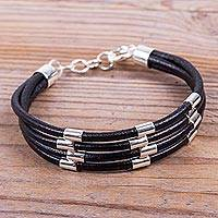Sterling silver and leather wristband bracelet,