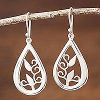 Sterling silver dangle earrings, 'Droplet of Life' - Silver Handcrafted Teardrop Earrings with Leaf Silhouettes