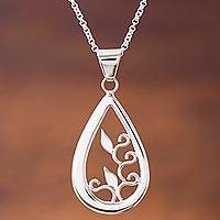 Sterling silver pendant necklace, 'Droplet of Life' - Silver Handcrafted Teardrop Necklace with Leaf Silhouettes
