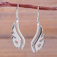 Sterling silver dangle earrings, 'Wings of Freedom' - Modern Abstract Handcrafted Sterling Silver Earrings