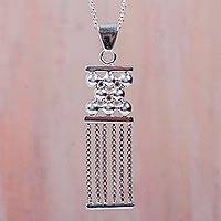 Sterling silver pendant necklace, 'Quipu' - Handcrafted Sterling Silver Inca-Inspired Necklace