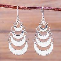 Sterling silver chandelier earrings, 'New Moon Echo' - Andean Silver Crescents Artisan Crafted Chandelier Earrings