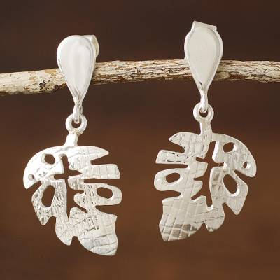 Sterling silver dangle earrings, Textured Leaf