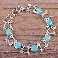 Amazonite link bracelet, 'Enchanted Circles' - Andean Amazonite Bracelet Handcrafted in Sterling Silver