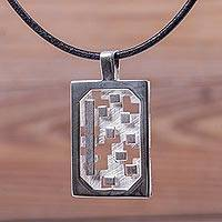 Sterling silver pendant necklace, 'Magic Puzzle' - Geometric Theme Artisan Crafted Silver and Leather Necklace