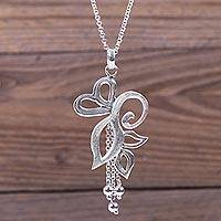 Sterling silver pendant necklace, 'Swan Dance' - Sterling Silver Necklace Handcrafted by Peruvian Artisan