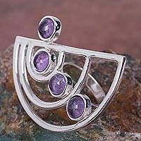 Amethyst cocktail ring, 'Lunar Orbits' - Modern 925 Sterling Silver Cocktail Ring with Amethysts