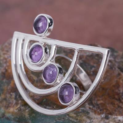 Modern 925 Sterling Silver Cocktail Ring with Amethysts