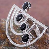 Obsidian cocktail ring, 'Lunar Orbits' - Modern 925 Sterling Silver Cocktail Ring with Obsidian