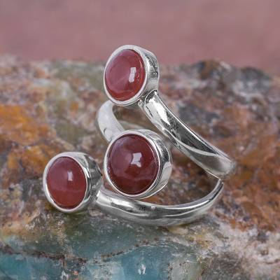 nautical napkin rings - Andean Silver Wrap Ring with 3 Rhodochrosite Gemstones