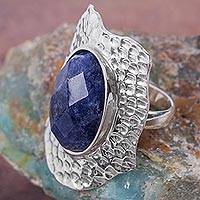 Sodalite cocktail ring, 'Emerging Sea' - Dramatic Sodalite Cocktail Ring Handcrafted in Silver 925