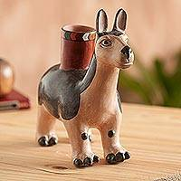 Ceramic decorative vessel, 'Moche Llama' - Handcrafted Ceramic Moche Replica Llama Sculpture from Peru
