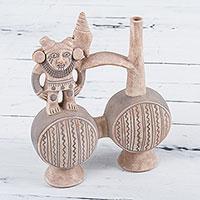 Decorative ceramic vessel, 'Chancay Effigy' - Ancient Peruvian Chancay Style Decorative Vessel in Clay