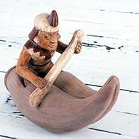 Ceramic sculpture, 'Reed Boat Fisherman' - Reed Boat Fisherman Chimu Replica Ceramic Figurine