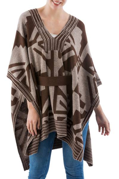 100% baby alpaca poncho, 'Brown and Beige Geometry' - Knitted Brown and Beige 100% Baby Alpaca Belted Poncho