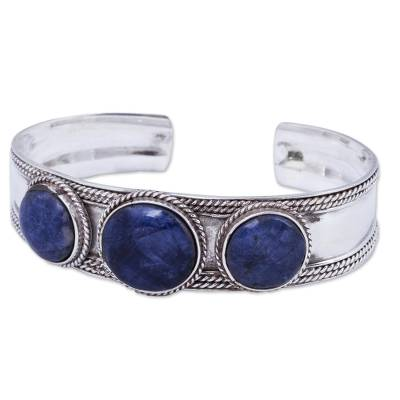 Hand Crafted Sodalite and Sterling Silver Cuff Bracelet