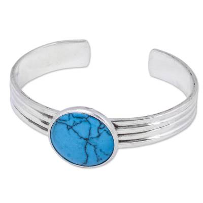 Handmade Reconstituted Turquoise and Silver Cuff Bracelet