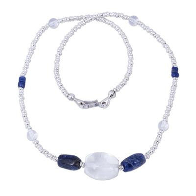 Handmade Sodalite and Quartz Beaded Necklace from Peru