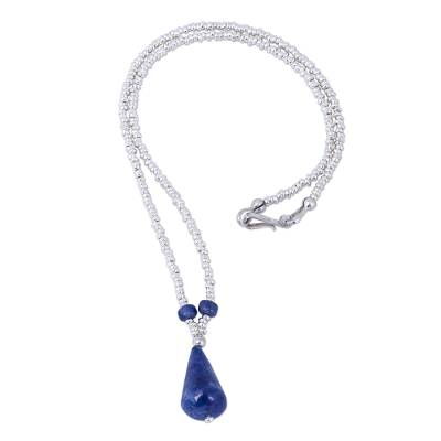 Hand Crafted Sodalite and Sterling Silver Beaded Necklace