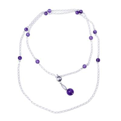 34-inch Chain Amethyst and Sterling Silver Beaded Necklace