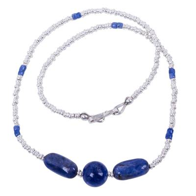 Hand Crafted Sterling Silver and Sodalite Beaded Necklace