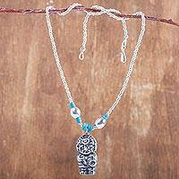 Sterling silver beaded pendant necklace,
