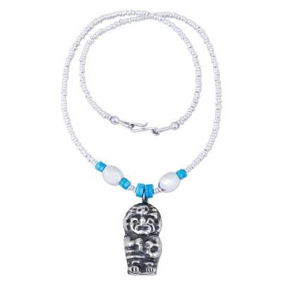 Artisan Crafted Sterling Silver Beaded Pendant Necklace