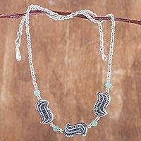 Aventurine and sterling silver beaded necklace,