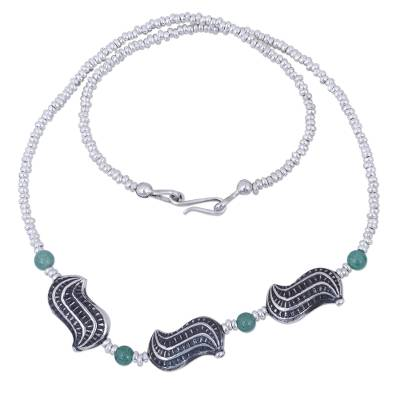 Hand Crafted Aventurine and Sterling Silver Beaded Necklace
