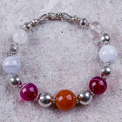Agate and Rose Quartz Silver 925 Beaded Bracelet