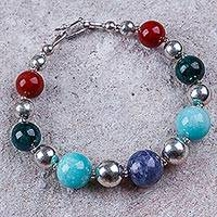 Multi-gem beaded bracelet, 'Lady of Trujillo' - Andean Gemstone Silver Sterling Beaded Bracelet