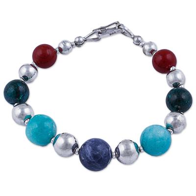 Andean Gemstone Silver Sterling Beaded Bracelet
