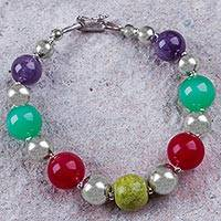 Multi-gem beaded bracelet, 'Lady of Arequipa' - Beaded Sterling Silver Bracelet with 4 Kinds of Gemstones