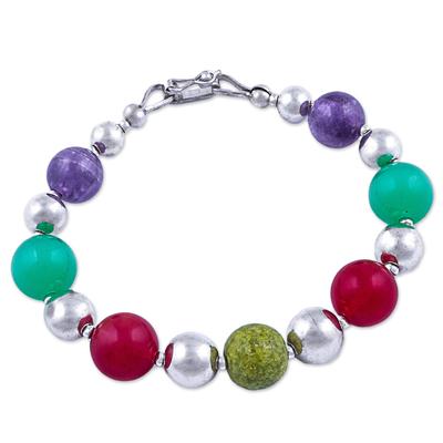 Beaded Sterling Silver Bracelet with 4 Kinds of Gemstones