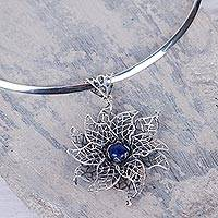 Sodalite choker, 'Blue Lace Jasmine' - Sodalite Floral Choker in Andean Sterling Silver