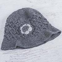 100% alpaca hat, 'Grey Floral' - Hand Knitted 100% Alpaca Floral Grey Hat from Peru