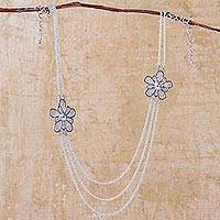 Sterling silver chain necklace, 'Flowers of Rimac' - Handcrafted Sterling Silver Chain Necklace with Flowers