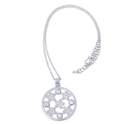 Handcrafted Sterling Silver Floral Pendant Necklace