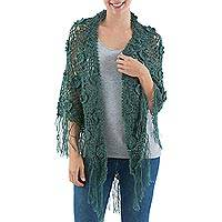 100% alpaca shawl, 'Lush Garden' - Artisan Crafted Alpaca Crochet Shawl in Green with Fringe