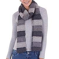 Alpaca scarf, 'Light and Dark' - Hand Crafted 100% Alpaca Striped Scarf in Grey