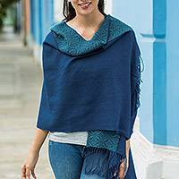 100% baby alpaca shawl, 'Andean Grace' - Artisan Crafted 100% Baby Alpaca Blue Shawl from Peru