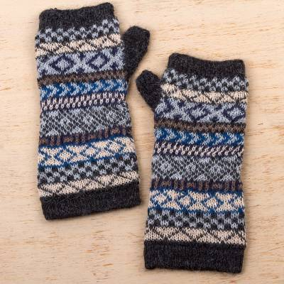 100% alpaca fingerless gloves, 'Geometric Color' - Hand Crafted 100% Alpaca Colorful Fingerless Gloves
