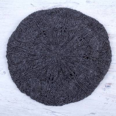 100% alpaca beret, 'Charcoal Grey Leaves' - Andean Alpaca Wool Hand Knitted Beret in Charcoal Grey