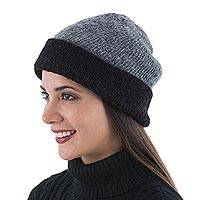 100% alpaca reversible hat,