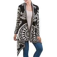Alpaca blend open cardigan, 'Floral Sky' - Artisan Crafted Alpaca Blend Cardigan in Black and Ivory